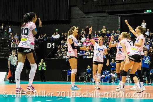 Point for Sm'Aesch Pfeffingen (l2r: Jessica Ventura (Sm'Aesch Pfeffingen #10), Livia Zaugg (Sm'Aesch Pfeffingen #3), Kristen Tupac (Sm'Aesch Pfeffingen #1), Dora Grozer (Sm'Aesch Pfeffingen #9), Annalea Maeder (Sm'Aesch Pfeffingen #17), Madlaina Matter (Sm'Aesch Pfeffingen #6)) Volleyball CEV Cup 2018-19 SmAESCH PFEFFINGEN (SUI) vs VC OUDEGEM (BEL) on December 5, 2018 at St Jakobs Halle in Basel (Switzerland).