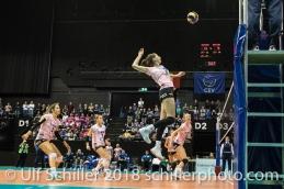 Madlaina Matter (Sm'Aesch Pfeffingen #6) with the watchpoint Volleyball CEV Cup 2018-19 SmAESCH PFEFFINGEN (SUI) vs VC OUDEGEM (BEL) on December 5, 2018 at St Jakobs Halle in Basel (Switzerland).