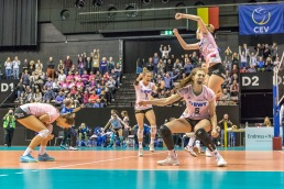 Matchpoint in the Golden Set for Sm'Aesch Pfeffingen Volleyball CEV Cup 2018-19 SmAESCH PFEFFINGEN (SUI) vs VC OUDEGEM (BEL) on December 5, 2018 at St Jakobs Halle in Basel (Switzerland).