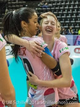 Jessica Ventura (Sm'Aesch Pfeffingen #10) and Annalea Maeder (Sm'Aesch Pfeffingen #17) Volleyball CEV Cup 2018-19 SmAESCH PFEFFINGEN (SUI) vs VC OUDEGEM (BEL) on December 5, 2018 at St Jakobs Halle in Basel (Switzerland).