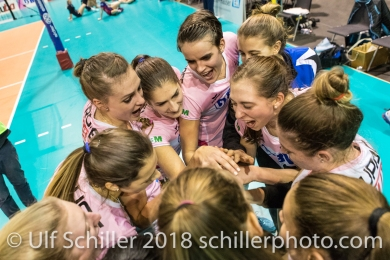 Sm'Aesch Pfeffingen after the match Volleyball CEV Cup 2018-19 SmAESCH PFEFFINGEN (SUI) vs VC OUDEGEM (BEL) on December 5, 2018 at St Jakobs Halle in Basel (Switzerland).