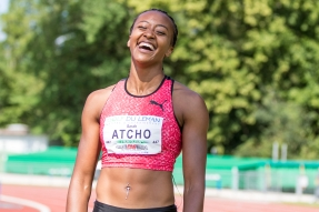 ATCHO Sarah (Lausanne-Sports Athletisme #447) after the 200 m race at AthletiCAGeneve (Memorial Georges Caillat) 2018 on 9 June, 2018 in Geneve (Stade Bout-du-Monde), Switzerland, Photo Credit: Ulf Schiller