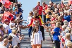 Siegerehrung Medaillenzeremonie Lea Sprunger (Sui) Europameisterin / Championne d'Europe 400 m Huerden / haies European Athletics Championships am 11.08.18 im Olympiastadion in Berlin (Deutschland). European Athletics Championships on 11.08.18 at the Olympic Stadium in Berlin, Germany. Photo Credit: Ulf Schiller / ATHLETIX.CH