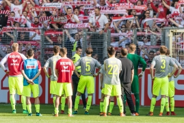 Absteiger 1. FC Koeln vor Fankurve; Fussball, Bundesliga, 32. Spieltag, SC Freiburg vs 1. FC Koeln am 28 April, 2018 in Freiburg (Scharzwaldstadion), Deutschland, Photo Credit: Ulf Schiller