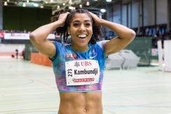 Kambundji Mujinga (STB Leichtathletik #273) nach Weltjahresbestleistung und Schweizerrekord in 7.03sec ueber 60m bei der LEICHTATHLETIK HALLEN SM 2018 am 17 February, 2018 in Magglingen (End der Welt), Schweiz, Photo Credit: Ulf Schiller (2018)
