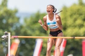 Thiam Nafissatou (BEL) ueberspringt 2.01m im Hochsprung (in the high jump); Leichtathletik, Hypomeeting , Goetzis, 2018 am 26 May, 2018 in Goetzis (Moeslestadion), Austria, Photo Credit: Ulf Schiller