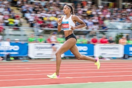 Thiam Nafissatou (BEL) gewinnt das Hypomeeting Goetzis 2018 mit 6806 Punkten ; Leichtathletik, Hypomeeting , Goetzis, 2018 Day 2 am 27 May, 2018 in Goetzis (Moeslestadion), Austria, Photo Credit: Ulf Schiller