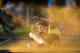 Finley Gaio (SC Liestal, Nr 318) Leichtathletik SM Nachwuchs U20 U23, 2018 am 08.09.18 in der Stadion Schachen in Aarau (Schweiz).