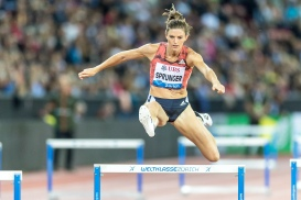 SPRUNGER, Lea (SUI, 400 m Hurdles) Leichtathletik Weltklasse Zuerich, 2018 am 30.08.18 im Stadion Letzigrund in Zuerich (Schweiz).