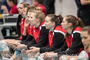 Bank Schweiz / Suisse vor dem Spiel: in der Mitte KUENZLER Laura (Suisse, #14) Volleyball European Championship Qualification Women Switzerland vs Austria on January 9, 2019 at Betoncoupe Arena in Schoenenwerd (Switzerland).