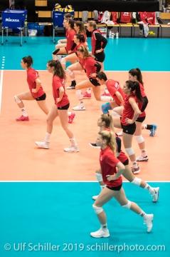 Warm up Team Schweiz / Suisse Volleyball European Championship Qualification Women Switzerland vs Austria on January 9, 2019 at Betoncoupe Arena in Schoenenwerd (Switzerland).