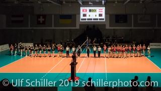 Match start Volleyball European Championship Qualification Women Switzerland vs Austria on January 9, 2019 at Betoncoupe Arena in Schoenenwerd (Switzerland).