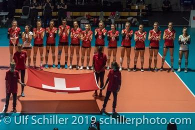 Nationalhymne Schweiz / Suisse Volleyball European Championship Qualification Women Switzerland vs Austria on January 9, 2019 at Betoncoupe Arena in Schoenenwerd (Switzerland).