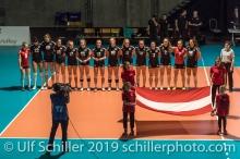 Nationalhymne Oesterreich / Austria Volleyball European Championship Qualification Women Switzerland vs Austria on January 9, 2019 at Betoncoupe Arena in Schoenenwerd (Switzerland).