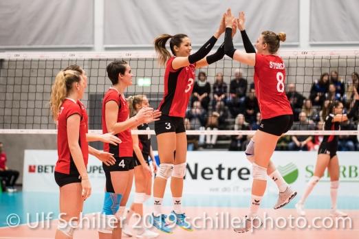 Match start: ZAUGG Livia (Suisse, #3) and STORCK Maja (Suisse, #8) Volleyball European Championship Qualification Women Switzerland vs Austria on January 9, 2019 at Betoncoupe Arena in Schoenenwerd (Switzerland).