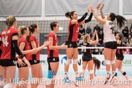 Match start ZAUGG Livia (Suisse, #3) and DEPRATI Thays (Suisse, #19) Volleyball European Championship Qualification Women Switzerland vs Austria on January 9, 2019 at Betoncoupe Arena in Schoenenwerd (Switzerland).