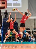 PIERRET Meline (Suisse, #7) and SCHOTTROFF Gabi (Suisse, #4) Volleyball European Championship Qualification Women Switzerland vs Austria on January 9, 2019 at Betoncoupe Arena in Schoenenwerd (Switzerland).