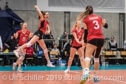 Point by MATTER Madlaina (Suisse, #6) Volleyball European Championship Qualification Women Switzerland vs Austria on January 9, 2019 at Betoncoupe Arena in Schoenenwerd (Switzerland).