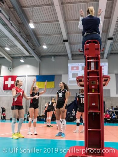Spielerinnen von Oesterreich / Austria protestieren Volleyball European Championship Qualification Women Switzerland vs Austria on January 9, 2019 at Betoncoupe Arena in Schoenenwerd (Switzerland).