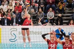 Aufschlag durch PIERRET Meline (Suisse, #7) Volleyball European Championship Qualification Women Switzerland vs Austria on January 9, 2019 at Betoncoupe Arena in Schoenenwerd (Switzerland).
