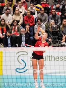 Aufschlag PIERRET Meline (Suisse, #7) Volleyball European Championship Qualification Women Switzerland vs Austria on January 9, 2019 at Betoncoupe Arena in Schoenenwerd (Switzerland).