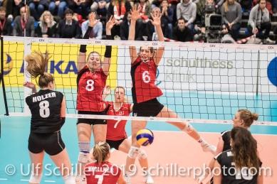 Erfolgreicher Block durch STORCK Maja (Suisse, #8) und MATTER Madlaina (Suisse, #6) Volleyball European Championship Qualification Women Switzerland vs Austria on January 9, 2019 at Betoncoupe Arena in Schoenenwerd (Switzerland).