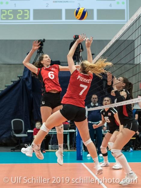 PIERRET Meline (Suisse, #7) und MATTER Madlaina (Suisse, #6) Volleyball European Championship Qualification Women Switzerland vs Austria on January 9, 2019 at Betoncoupe Arena in Schoenenwerd (Switzerland).