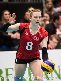 STORCK Maja (Suisse, #8) Volleyball European Championship Qualification Women Switzerland vs Austria on January 9, 2019 at Betoncoupe Arena in Schoenenwerd (Switzerland).