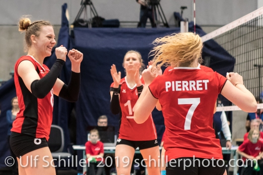 Jubel nach Punkt durch PIERRET Meline (Suisse, #7) Volleyball European Championship Qualification Women Switzerland vs Austria on January 9, 2019 at Betoncoupe Arena in Schoenenwerd (Switzerland).