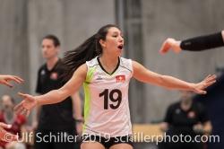 Jubel bei DEPRATI Thays (Suisse, #19) Volleyball European Championship Qualification Women Switzerland vs Austria on January 9, 2019 at Betoncoupe Arena in Schoenenwerd (Switzerland).
