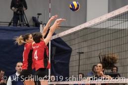 Block von SCHOTTROFF Gabi (Suisse, #4) Volleyball European Championship Qualification Women Switzerland vs Austria on January 9, 2019 at Betoncoupe Arena in Schoenenwerd (Switzerland).