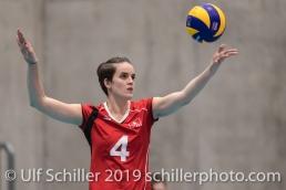 Aufschlag von SCHOTTROFF Gabi (Suisse, #4) Volleyball European Championship Qualification Women Switzerland vs Austria on January 9, 2019 at Betoncoupe Arena in Schoenenwerd (Switzerland).