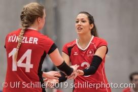 ZAUGG Livia (Suisse, #3) und KUENZLER Laura (Suisse, #14) Volleyball European Championship Qualification Women Switzerland vs Austria on January 9, 2019 at Betoncoupe Arena in Schoenenwerd (Switzerland).