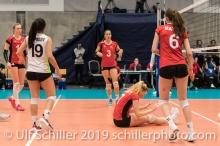 Aerger bei PIERRET Meline (Suisse, #7) nach verlorenem Ballwechsel Volleyball European Championship Qualification Women Switzerland vs Austria on January 9, 2019 at Betoncoupe Arena in Schoenenwerd (Switzerland).