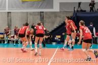 Jubel nach Satzball zum 2:0 und Qualifikation fuer die EM Endrunde Volleyball European Championship Qualification Women Switzerland vs Austria on January 9, 2019 at Betoncoupe Arena in Schoenenwerd (Switzerland).