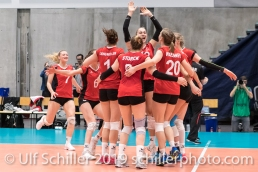 Satzball zum 2:0 und Europameisterschafts-Qualifikation Volleyball European Championship Qualification Women Switzerland vs Austria on January 9, 2019 at Betoncoupe Arena in Schoenenwerd (Switzerland).