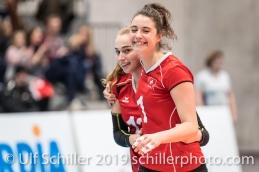Jubel bei STAFFELBACH Xenia (Suisse, #13) und LENGWEILER Julie (Suisse, #1) Volleyball European Championship Qualification Women Switzerland vs Austria on January 9, 2019 at Betoncoupe Arena in Schoenenwerd (Switzerland).