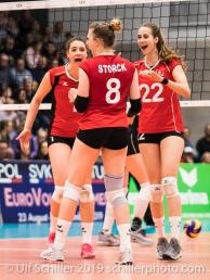 Punkt fuer Schweiz / Suisse Volleyball European Championship Qualification Women Switzerland vs Austria on January 9, 2019 at Betoncoupe Arena in Schoenenwerd (Switzerland).
