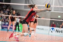 Abwehr durch LENGWEILER Julie (Suisse, #1) Volleyball European Championship Qualification Women Switzerland vs Austria on January 9, 2019 at Betoncoupe Arena in Schoenenwerd (Switzerland).