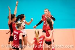 Jubel beim Team Schweiz / Suisse Volleyball European Championship Qualification Women Switzerland vs Austria on January 9, 2019 at Betoncoupe Arena in Schoenenwerd (Switzerland).