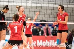 Jubel nach Punkt durch STORCK Maja (Suisse, #8) Volleyball European Championship Qualification Women Switzerland vs Austria on January 9, 2019 at Betoncoupe Arena in Schoenenwerd (Switzerland).