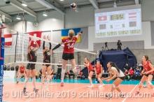 Angriff durch KUENZLER Laura (Suisse, #14) Volleyball European Championship Qualification Women Switzerland vs Austria on January 9, 2019 at Betoncoupe Arena in Schoenenwerd (Switzerland).