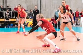 Annahme durch KUENZLER Laura (Suisse, #14) Volleyball European Championship Qualification Women Switzerland vs Austria on January 9, 2019 at Betoncoupe Arena in Schoenenwerd (Switzerland).