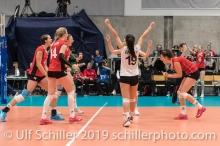 Jubel bei der Schweiz / Suisse Volleyball European Championship Qualification Women Switzerland vs Austria on January 9, 2019 at Betoncoupe Arena in Schoenenwerd (Switzerland).