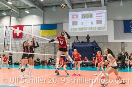 angriff durch STORCK Maja (Suisse, #8) Volleyball European Championship Qualification Women Switzerland vs Austria on January 9, 2019 at Betoncoupe Arena in Schoenenwerd (Switzerland).