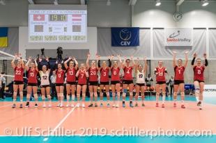 Die Schweizer Frauen Nati qualifiziert sich fuer die Endrunde der Europameisterschaft Volleyball European Championship Qualification Women Switzerland vs Austria on January 9, 2019 at Betoncoupe Arena in Schoenenwerd (Switzerland).