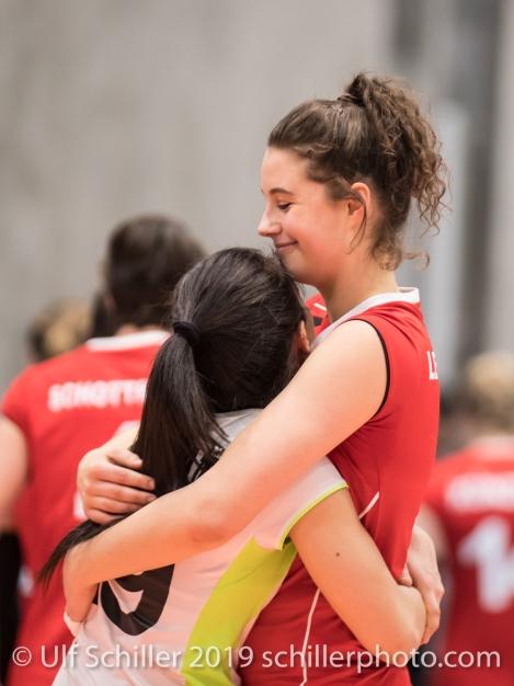 LENGWEILER Julie (Suisse, #1) und DEPRATI Thays (Suisse, #19) Volleyball European Championship Qualification Women Switzerland vs Austria on January 9, 2019 at Betoncoupe Arena in Schoenenwerd (Switzerland).