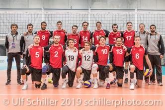 Nati Maenner der Schweiz / Suisse Volleyball European Championship Qualification Men Switzerland vs Ukraine on January 9, 2019 at Betoncoupe Arena in Schoenenwerd (Switzerland).