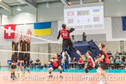 Angriff durch DJOKIC Jovan (Suisse, #18) Volleyball European Championship Qualification Men Switzerland vs Ukraine on January 9, 2019 at Betoncoupe Arena in Schoenenwerd (Switzerland).