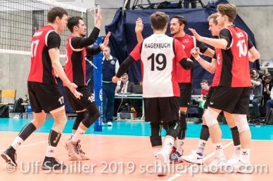 Punktgewinn fuer die Schweiz / Suisse Volleyball European Championship Qualification Men Switzerland vs Ukraine on January 9, 2019 at Betoncoupe Arena in Schoenenwerd (Switzerland).